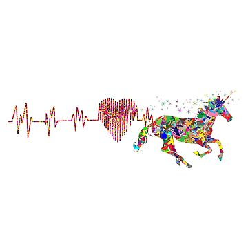 Horse Heartbeat T-Shirt - Horse Lovers Tee by pavelrmata