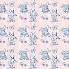 Toile de jouy, chinoiserie, fortlaufendes Muster, Tapete von einechtervogel