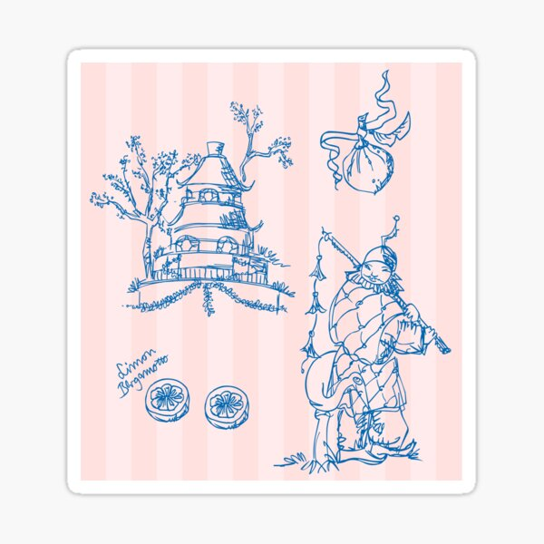 Toile de jouy, chinoiserie, fortlaufendes Muster, Tapete Sticker