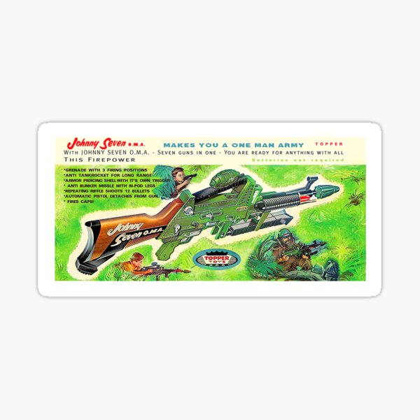 Johnny Seven one man army toy Sticker