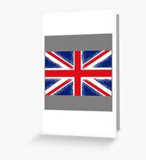 Grunge Flag of United Kingdom on Grey Background. English Symbol of Independence. Greeting Card