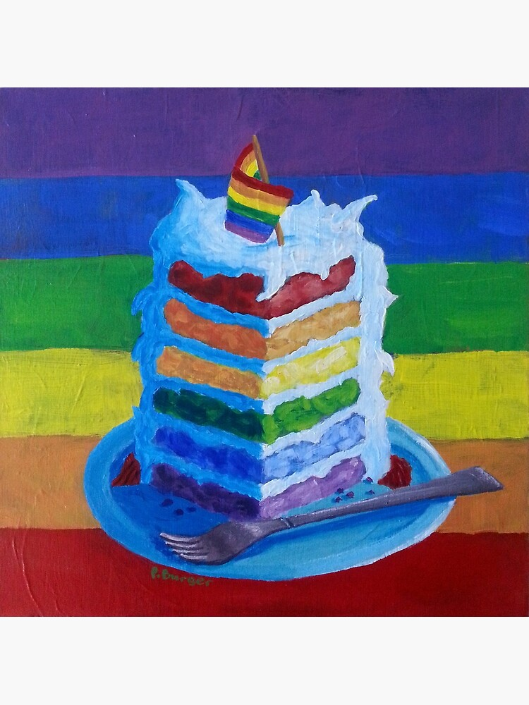 Cool Gay Pride Birthday Or Wedding Cake Greeting Card By Funny Birthday Cards Online Overcheapnameinfo