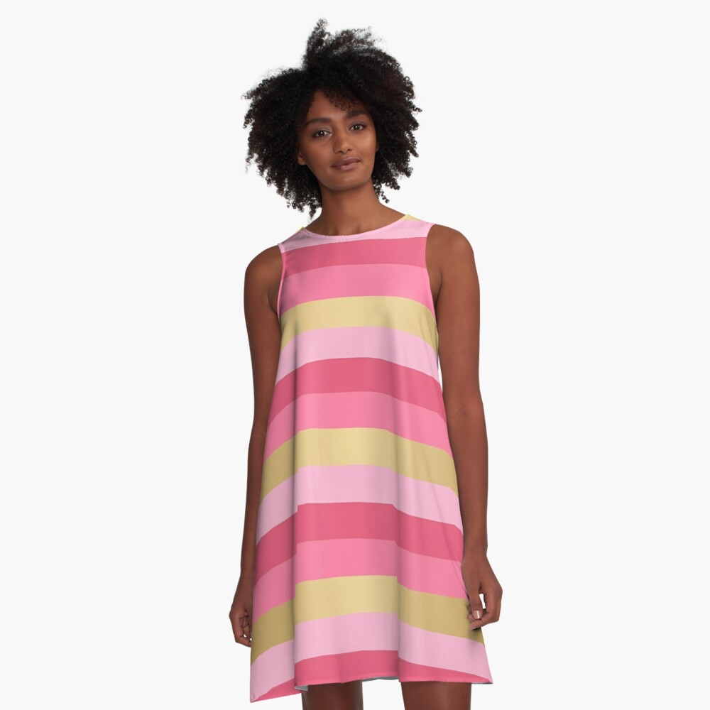 Pink and Gold Stripes A-Line Dress Front