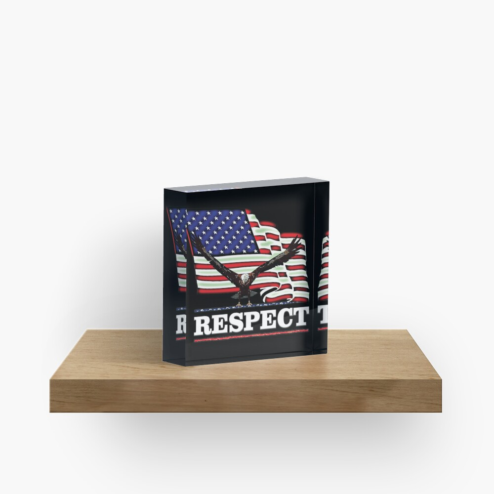 USA Flag RESPECT in white text Acrylic Block