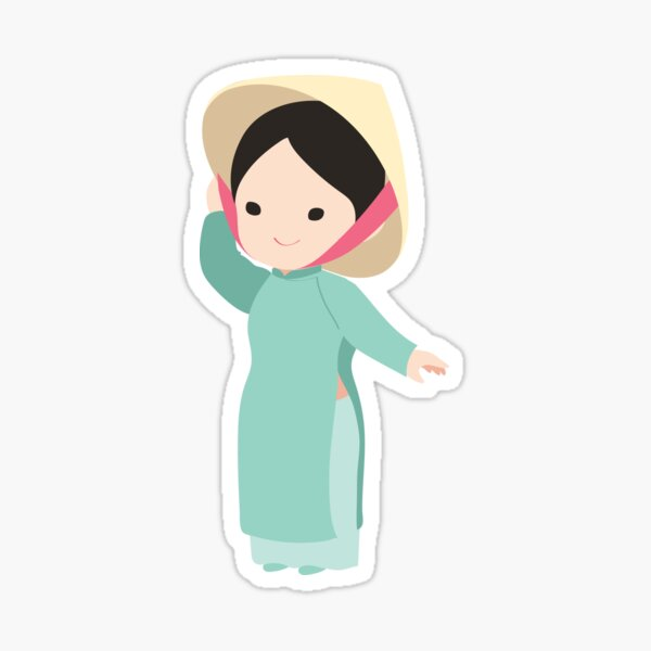 Vietnamese Ao dai traditional dress Sticker