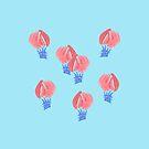 Air Balloons on Light Blue by Elena Simonova