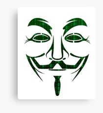 Anonymous Guy Fawkes Binary Code Canvas Print