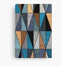 Colorful Triangles - Blue, Grey, Brown Canvas Print