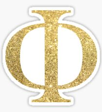 Gold Glitter Letters Phi Sticker
