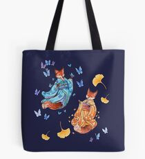 Foxy Friends - Kitsune with ginkgo and butterflies Tote Bag