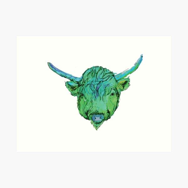 Highland Cow - Green Art Print