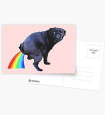 Pug Rainbow Postcards