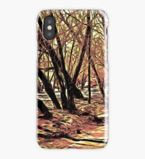 Landscape with the trees. Graphic novel style iPhone Case/Skin