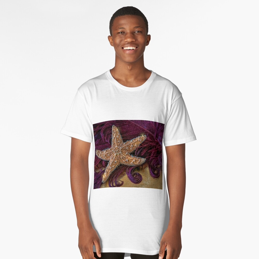 Starfish and Feathers Long T-Shirt Front