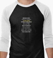 THE TWELVE (TYPE)FACES OF DR. WHO Men's Baseball ¾ T-Shirt