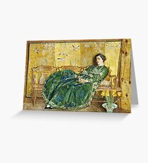 April - (The Green Gown) by Childe Hassam Greeting Card
