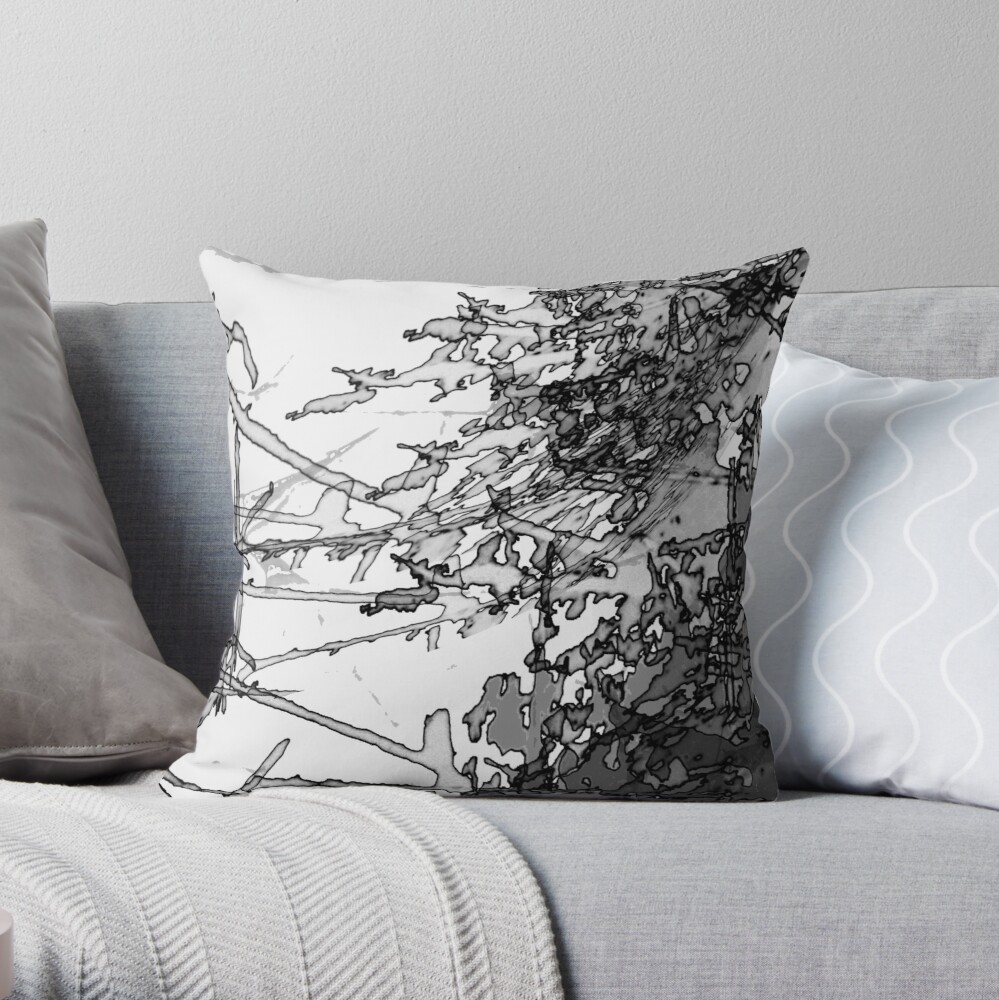 Edgy Black and White Throw Pillow