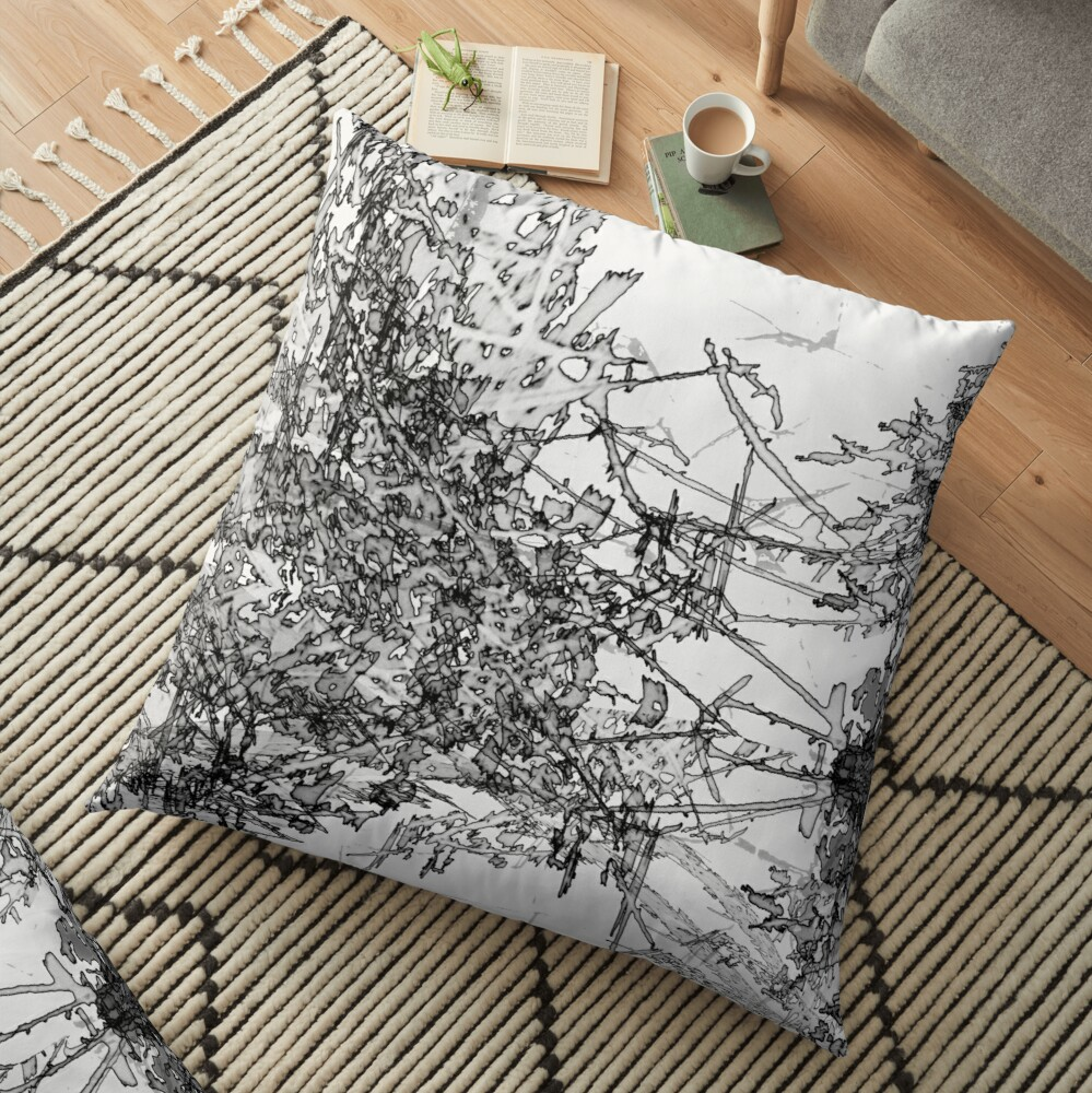 Edgy Black and White Floor Pillow