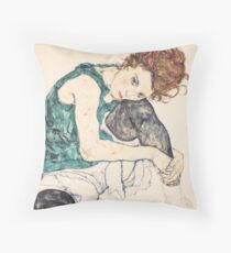 "Egon Schiele ""Seated Woman with Bent Knee"", 1917"" Throw Pillow"
