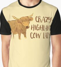 Crazy Highland cow lady Graphic T-Shirt