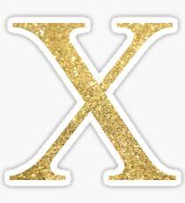 Gold Glitter Letters Chi X Sticker