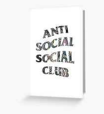 Anti Social Social Club Trippy Iridescent Wavy Logo Greeting Card