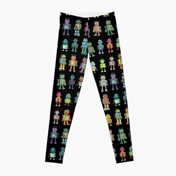 Robot Line-up on Black - fun pattern by Cecca Designs Leggings