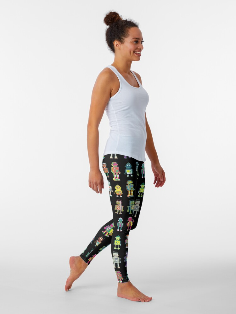 Alternate view of Robot Line-up on Black - fun pattern by Cecca Designs Leggings