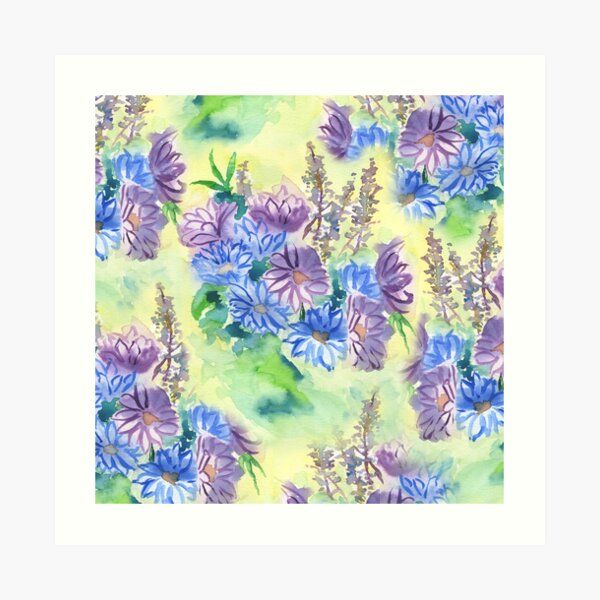 Watercolor Hand-Painted Purple Blue Daisies Daisy Flowers Art Print