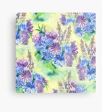 Watercolor Hand-Painted Purple Blue Daisies Daisy Flowers Metal Print