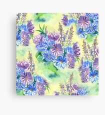 Watercolor Hand-Painted Purple Blue Daisies Daisy Flowers Canvas Print