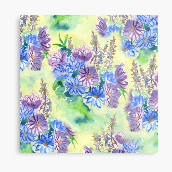 Watercolor Hand-Painted Purple Blue Daisies Daisy Flowers Metal Print