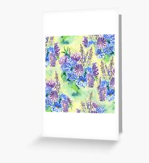 Watercolor Hand-Painted Purple Blue Daisies Daisy Flowers Greeting Card