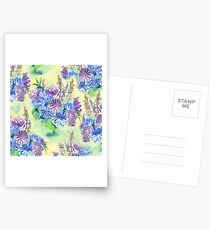 Watercolor Hand-Painted Purple Blue Daisies Daisy Flowers Postcards