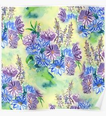 Watercolor Hand-Painted Purple Blue Daisies Daisy Flowers Poster
