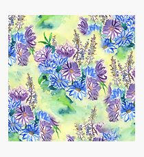 Watercolor Hand-Painted Purple Blue Daisies Daisy Flowers Photographic Print