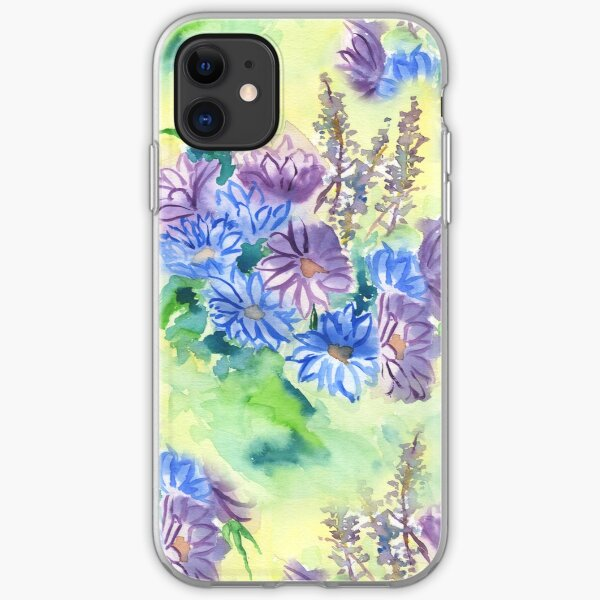 Watercolor Hand-Painted Purple Blue Daisies Daisy Flowers iPhone Soft Case