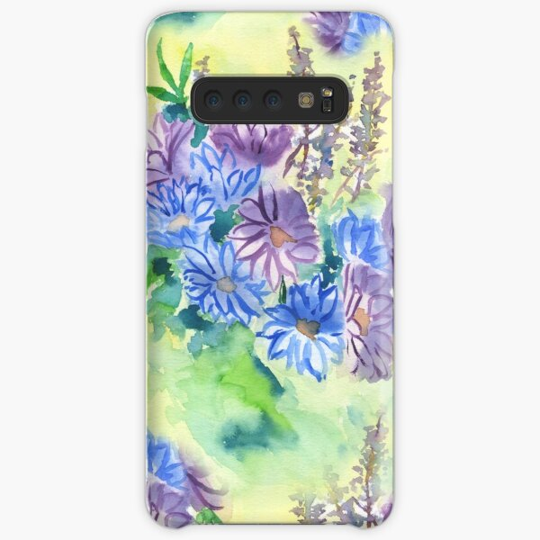 Watercolor Hand-Painted Purple Blue Daisies Daisy Flowers Samsung Galaxy Snap Case