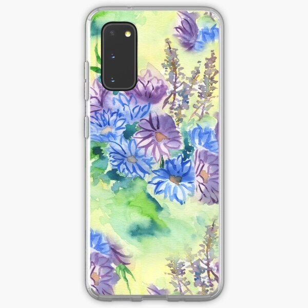 Watercolor Hand-Painted Purple Blue Daisies Daisy Flowers Samsung Galaxy Soft Case