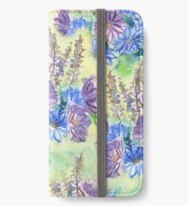 Watercolor Hand-Painted Purple Blue Daisies Daisy Flowers iPhone Wallet/Case/Skin