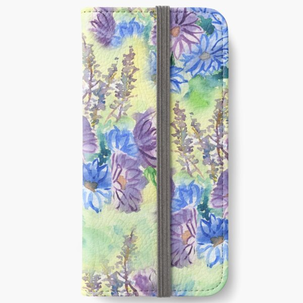 Watercolor Hand-Painted Purple Blue Daisies Daisy Flowers iPhone Wallet