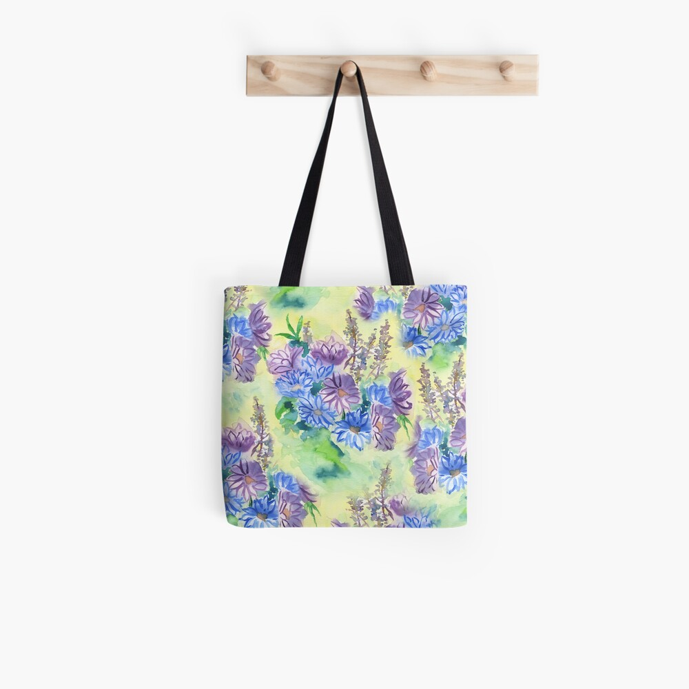 Watercolor Hand-Painted Purple Blue Daisies Daisy Flowers Tote Bag