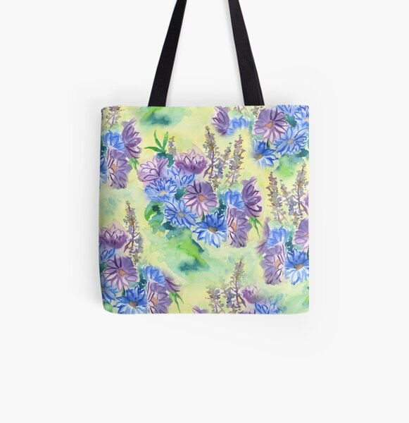 Watercolor Hand-Painted Purple Blue Daisies Daisy Flowers All Over Print Tote Bag