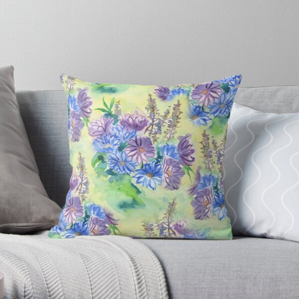 Watercolor Hand-Painted Purple Blue Daisies Daisy Flowers Throw Pillow