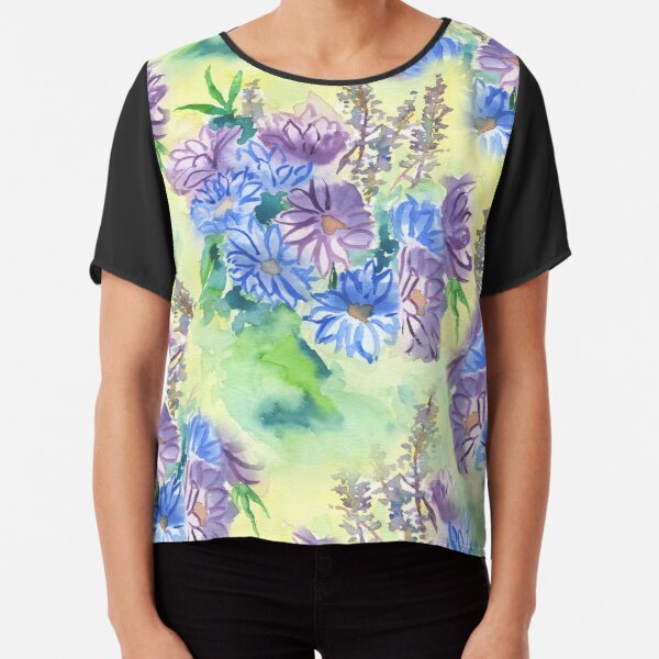 Watercolor Hand-Painted Purple Blue Daisies Daisy Flowers Chiffon Top