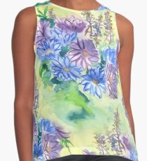 Watercolor Hand-Painted Purple Blue Daisies Daisy Flowers Contrast Tank