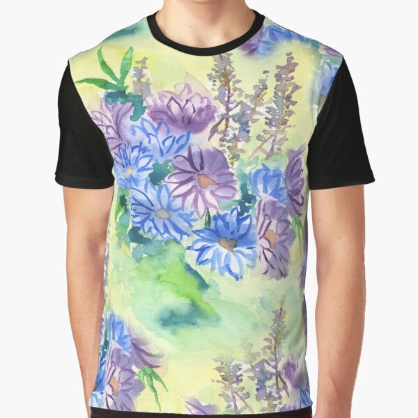 Watercolor Hand-Painted Purple Blue Daisies Daisy Flowers Graphic T-Shirt