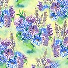 Watercolor Hand-Painted Purple Blue Daisies Daisy Flowers by Beverly Claire Kaiya