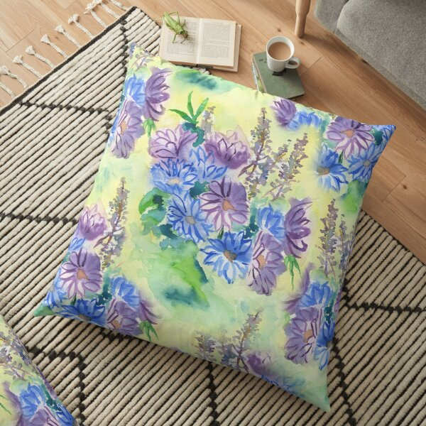 Watercolor Hand-Painted Purple Blue Daisies Daisy Flowers Floor Pillow