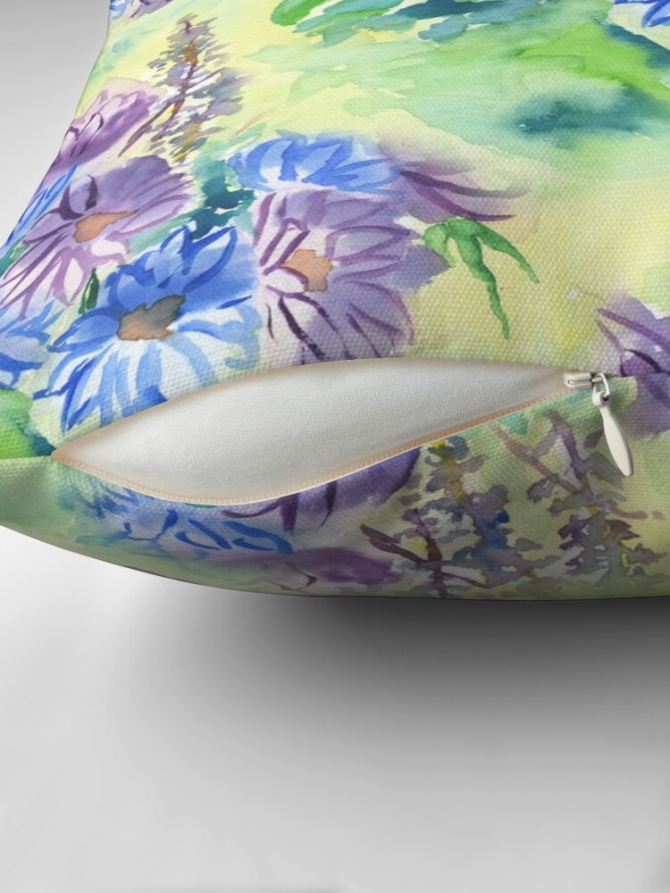 Alternate view of Watercolor Hand-Painted Purple Blue Daisies Daisy Flowers Floor Pillow